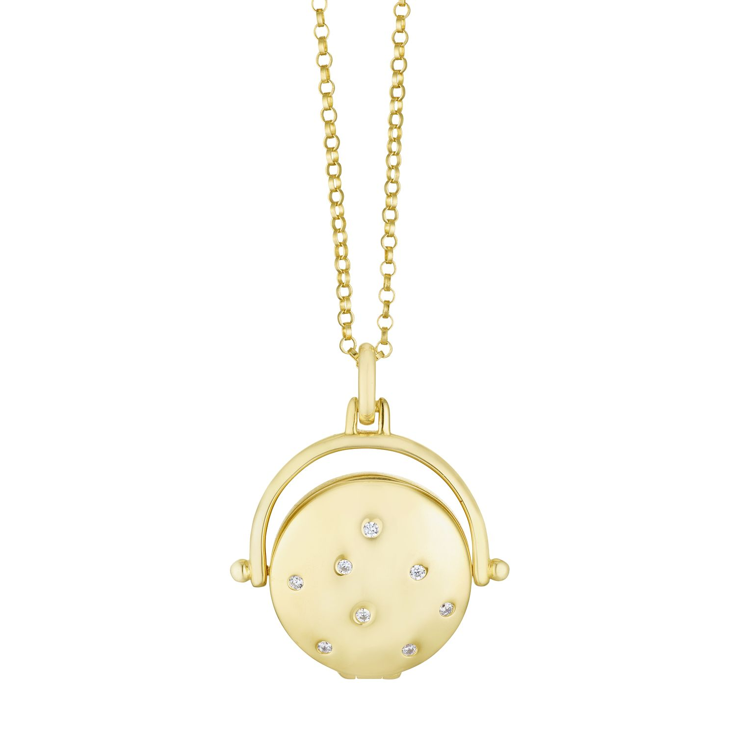 Silver & Yellow Gold Plated Cubic Zirconia Round Locket - Product number 3128571