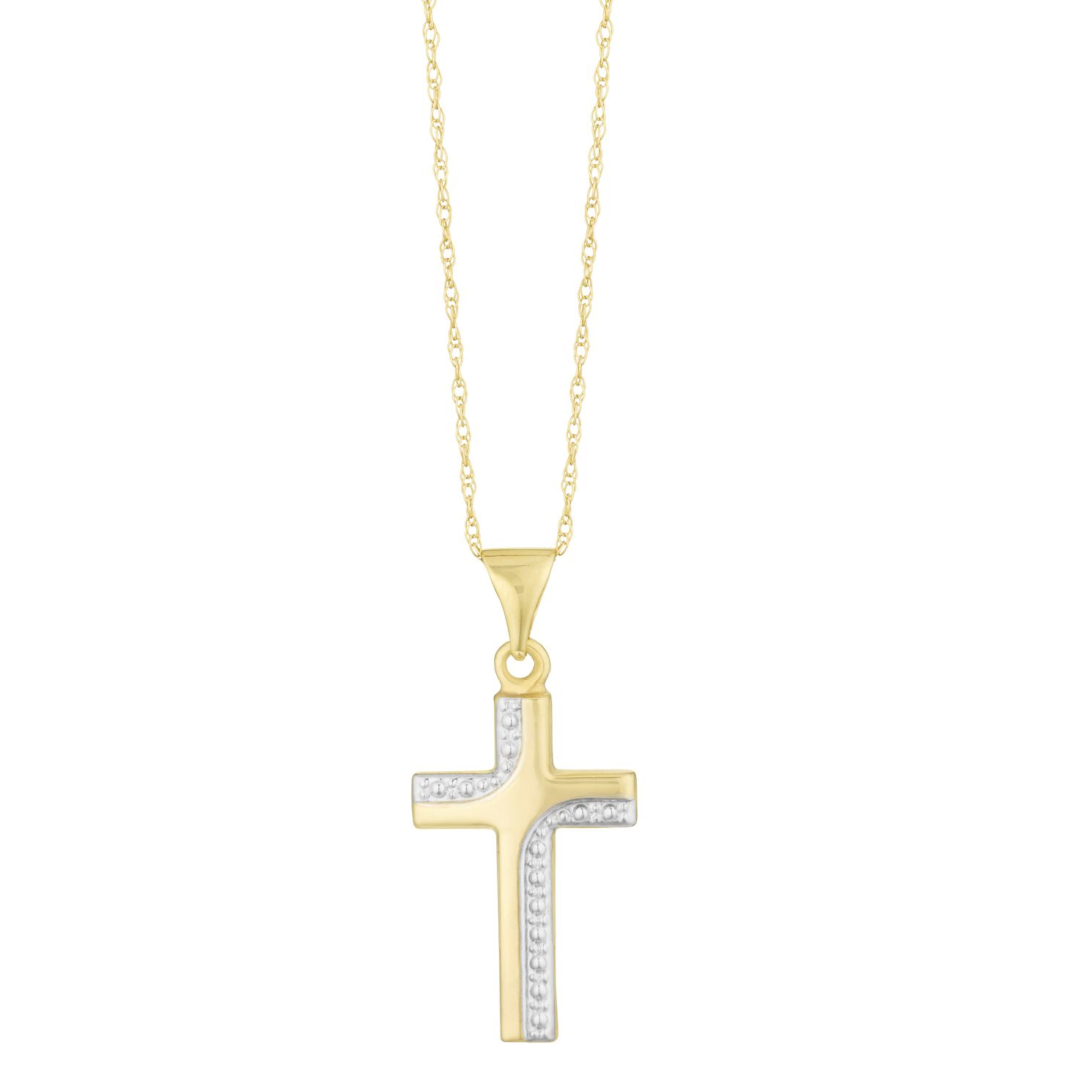 9ct Two Tone Gold Grain Cross Pendant - Product number 3128644