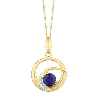 9ct Yellow Gold Created Sapphire & CZ Round Pendant - Product number 3128687