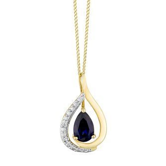 9ct Yellow Gold Created Sapphire Teardrop Pendant - Product number 3128725