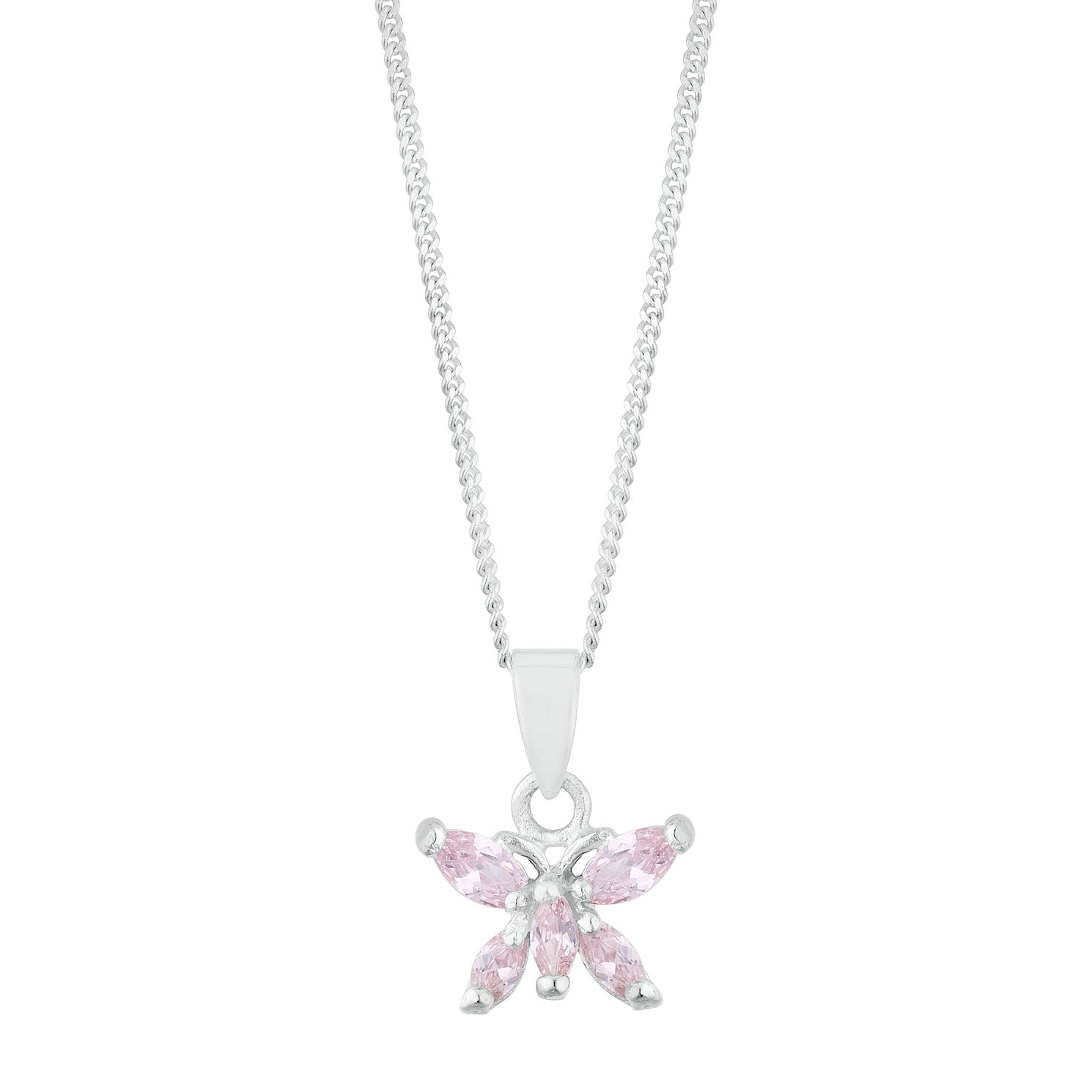 Kids' Silver Pink Cubic Zirconia Butterfly Pendant - Product number 3128806