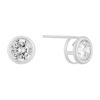 9ct White Gold Cubic Zirconia Round Stud Earrings - Product number 3129004