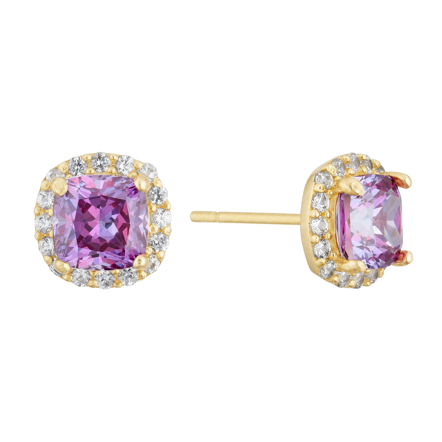 9ct Yellow Gold Purple Cubic Zirconia Square Halo Earrings - Product number 3129136