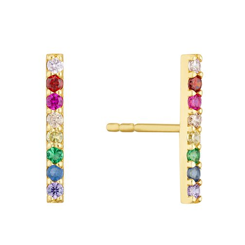 9ct Yellow Gold Rainbow Cubic Zirconia Bar Stud Earrings - Product number 3129144