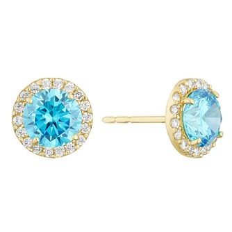 9ct Yellow Gold Blue Cubic Zirconia Halo Stud Earrings - Product number 3129276