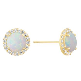 9ct Yellow Gold White Cubic Zirconia Halo Stud Earrings - Product number 3130290