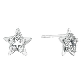 9ct White Gold Cubic Zirconia Open Star Stud Earrings - Product number 3130304