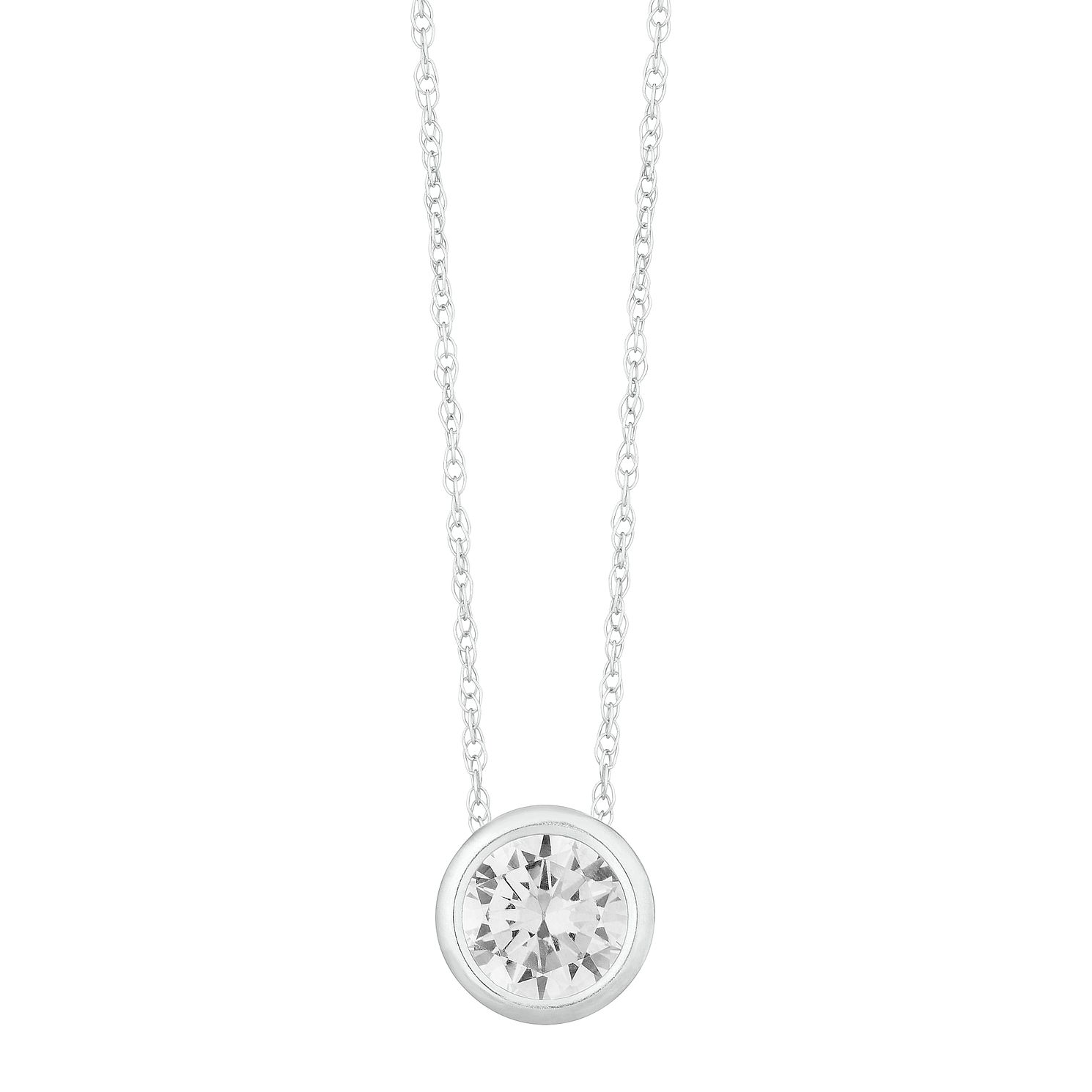 9ct White Gold Cubic Zirconia Round Pendant - Product number 3130320
