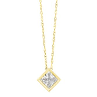 9ct Yellow Gold Cubic Zirconia Square Pendant - Product number 3130355