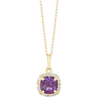 9ct Yellow Gold Purple Cubic Zirconia Square Halo Pendant - Product number 3130371