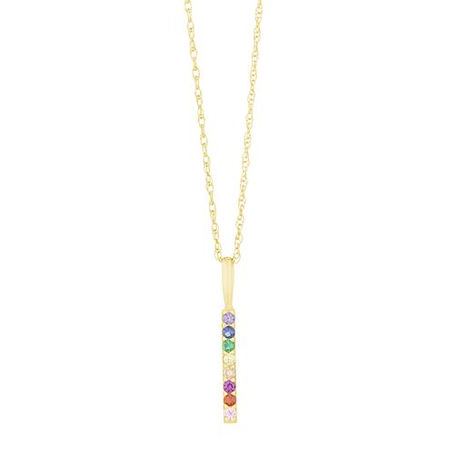 9ct Yellow Gold Rainbow Cubic Zirconia Bar Pendant - Product number 3130606