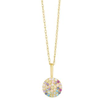 9ct Yellow Gold Rainbow Cubic Zirconia Disc Pendant - Product number 3130614