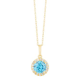 9ct Yellow Gold Blue Cubic Zirconia Halo Pendant - Product number 3130622