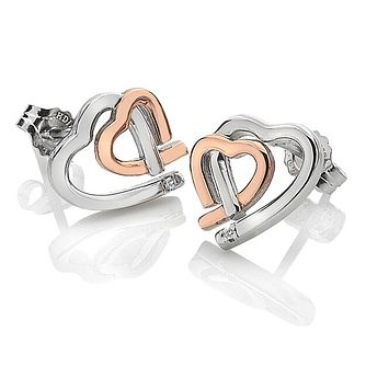 Hot Diamonds Ladies' Rose Gold Plated Double Heart Earrings - Product number 3131084