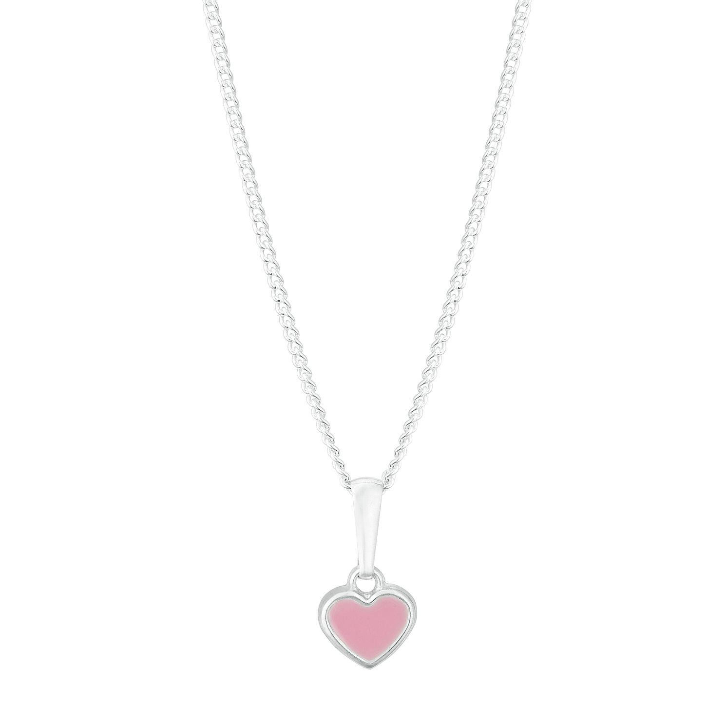 Kids' Silver Pink Enamel Heart Pendant - Product number 3132277
