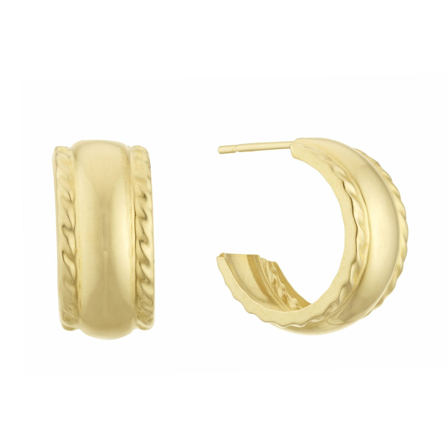 9ct Yellow Gold Twist Edges 13mm 3/4 Hoop Earrings - Product number 3133028