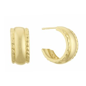 9ct Yellow Gold Twisted Edges Hoop Earrings - Product number 3133028