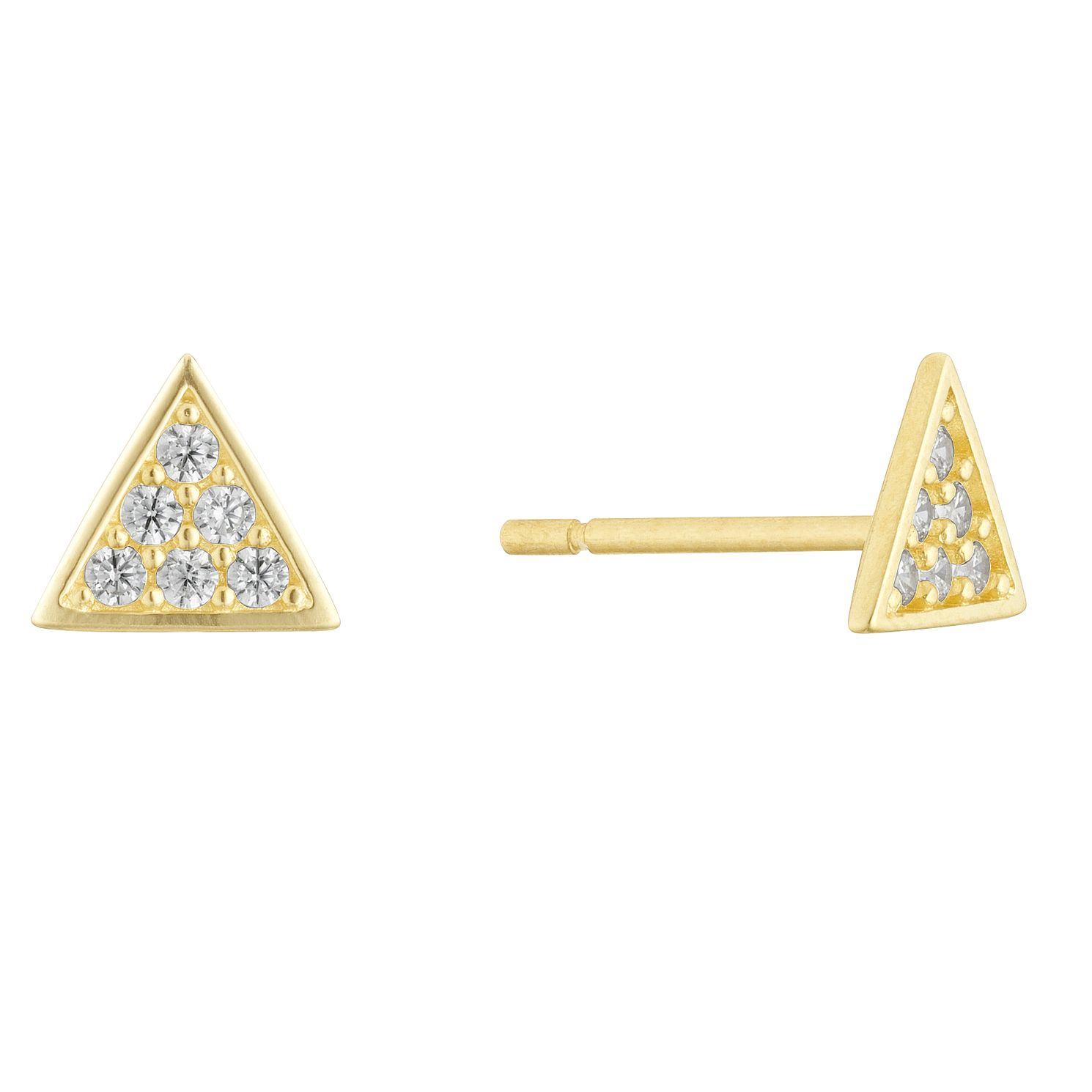 9ct Yellow Gold Cubic Zirconia Triangle Stud Earrings - Product number 3133060