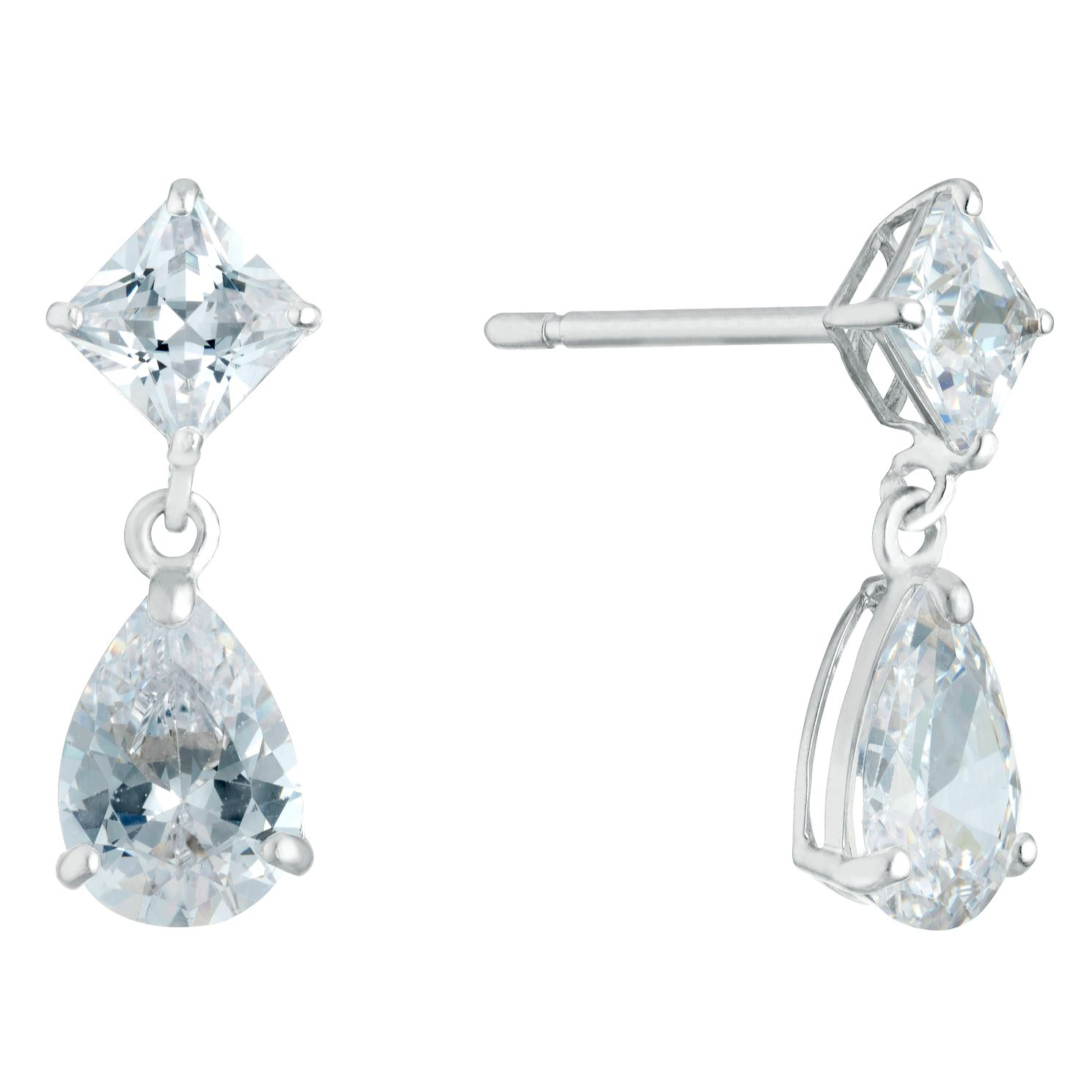 9ct White Gold Cubic Zirconia Teardrop Square Drop Earrings - Product number 3133095