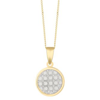 9ct Yellow Gold Glitter Criss-Cross Disc Pendant - Product number 3133141