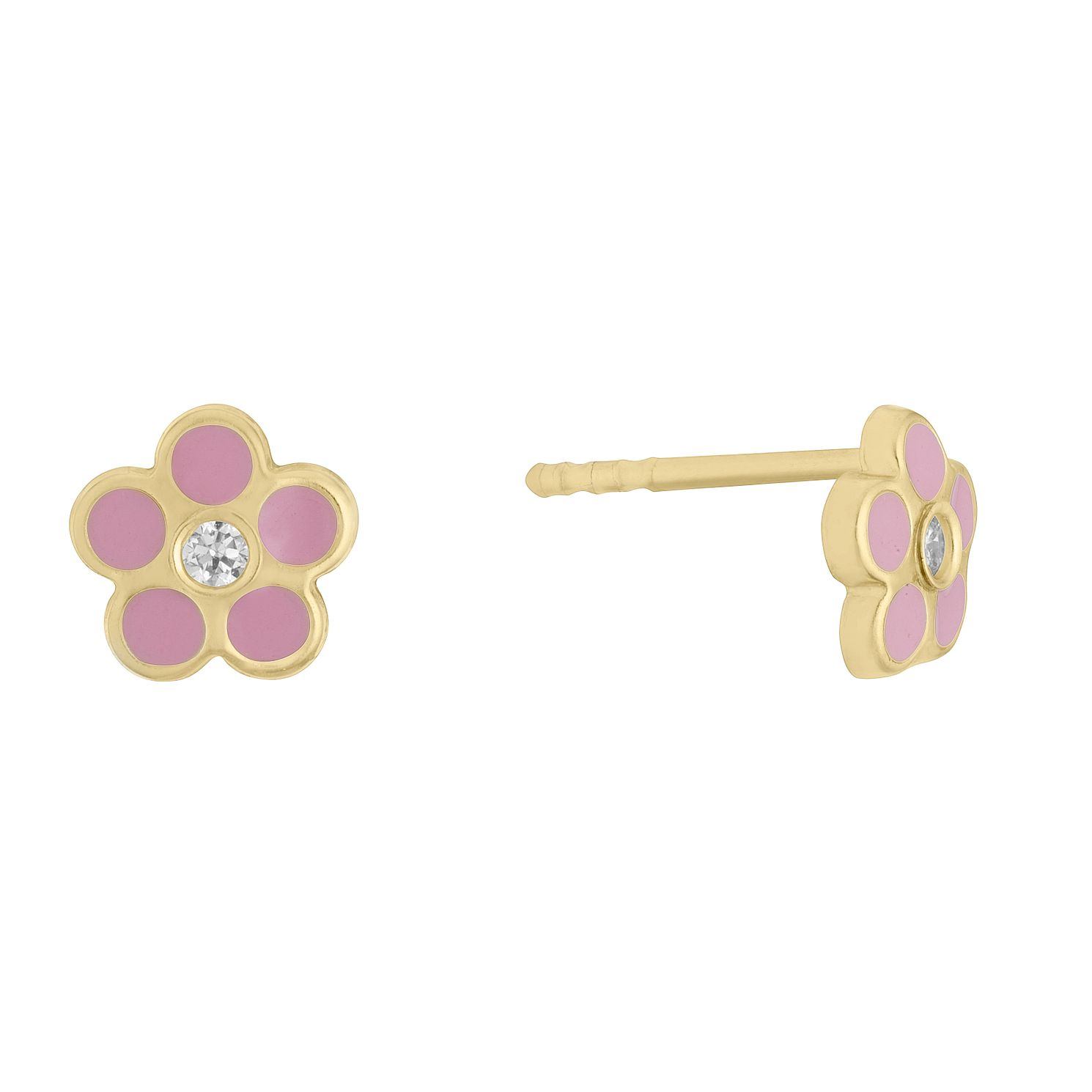 Kids' 9ct Yellow Gold CZ Pink Enamel Flower Stud Earrings - Product number 3133435