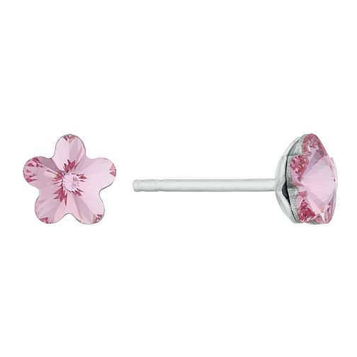 Kids' Silver Pink Crystal Flower Stud Earrings - Product number 3133478