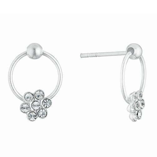Kids' Silver Crystal Flower Circle Stud Earrings - Product number 3133486