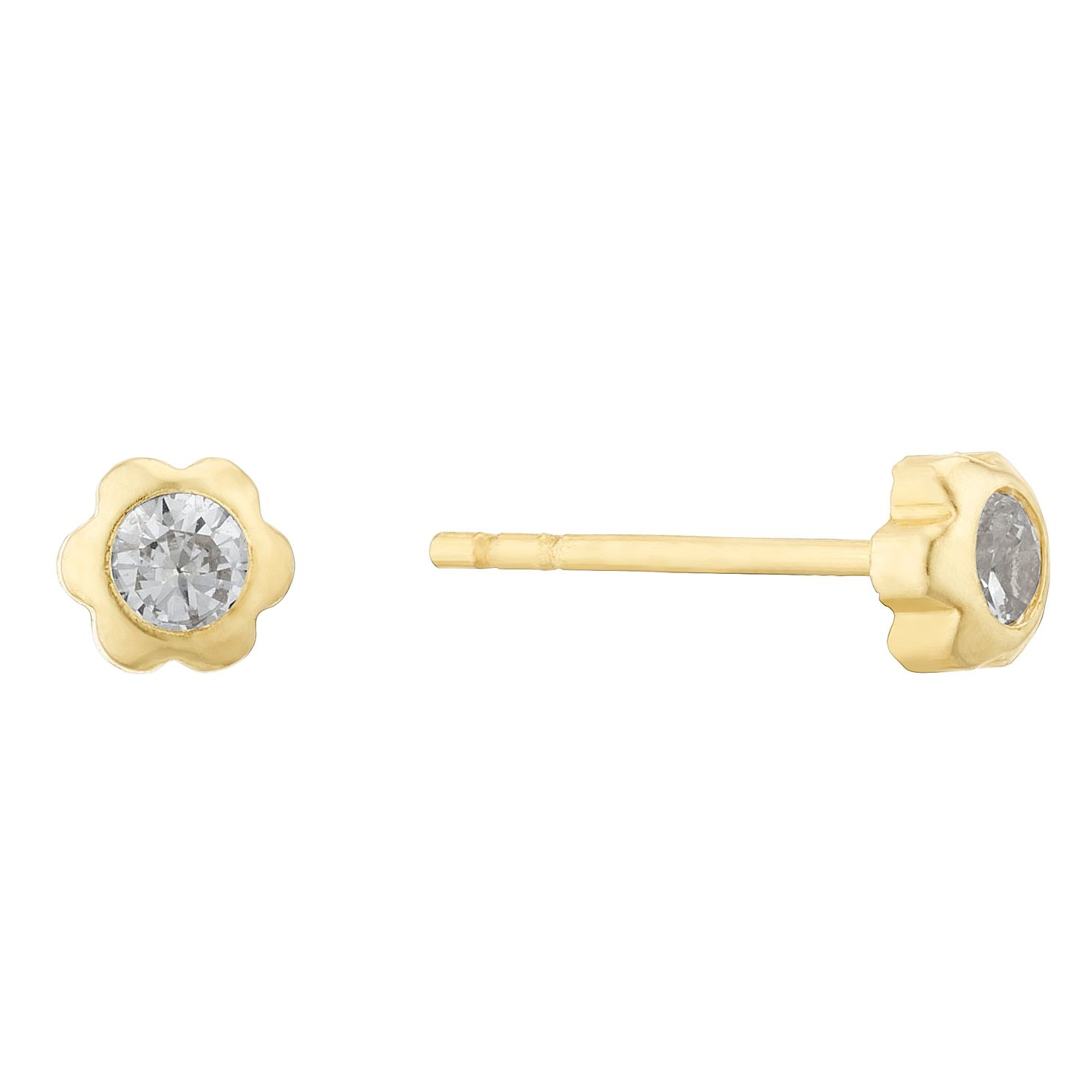Kids' 9ct Yellow Gold Cubic Zirconia Flower Stud Earrings - Product number 3133494