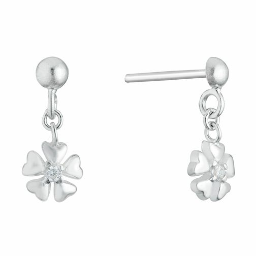 Kids' Silver Cubic Zirconia Flower Drop Earrings - Product number 3133508