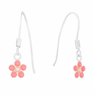 Kids' Silver Synthetic Pearl Pink Enamel Flower Earrings - Product number 3133532
