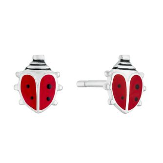 Kids' Silver Red Enamel Ladybird Stud Earrings - Product number 3133540