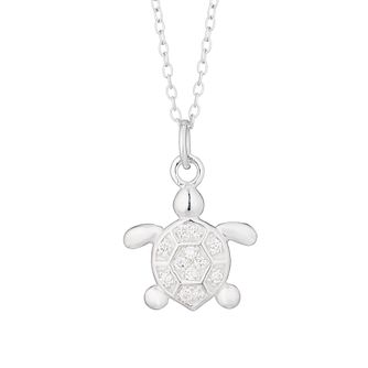 Kids' Silver Cubic Zirconia Turtle Pendant - Product number 3133745