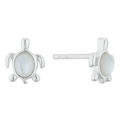 Kids' Silver Mother Of Pearl Turtle Stud Earrings - Product number 3135365
