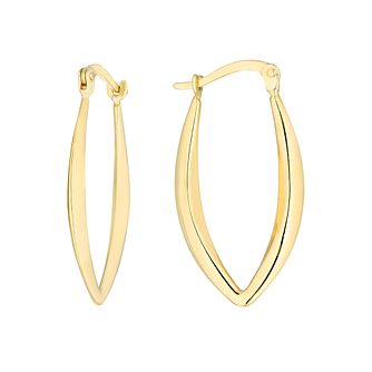 9ct Yellow Gold V-Shaped Creole Earrings - Product number 3137457