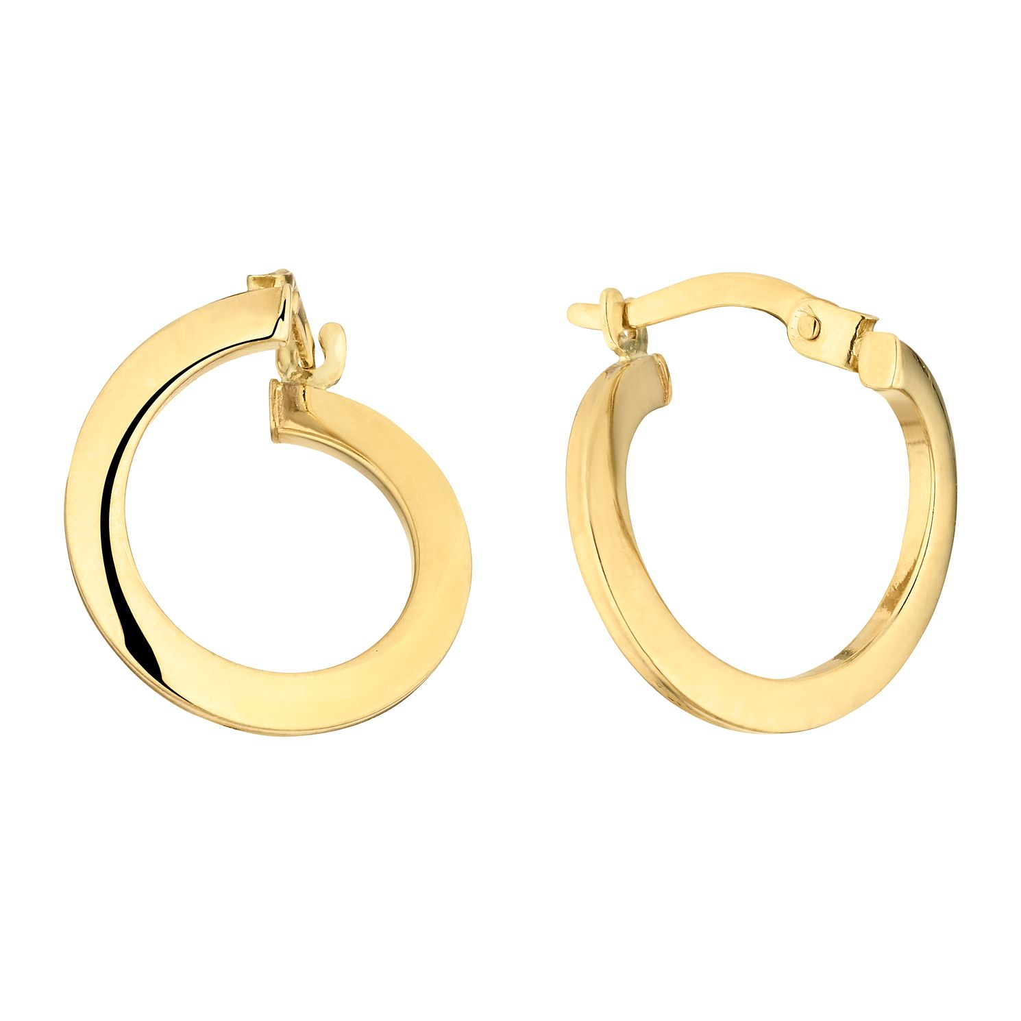 9ct Yellow Gold Front To Back Creole Hoop Earrings - Product number 3137503
