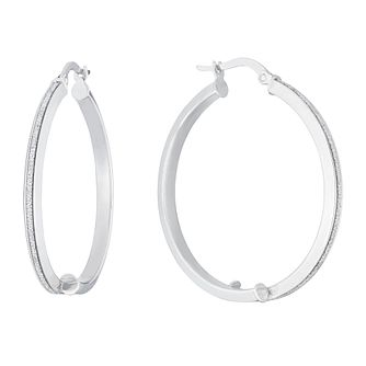 9ct White Gold Sparkle Hoop Earrings - Product number 3137651