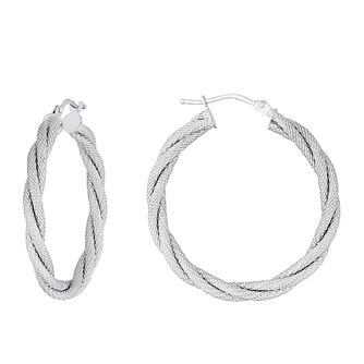 9ct White Gold Two Strand Woven Hoop Earrings - Product number 3137686
