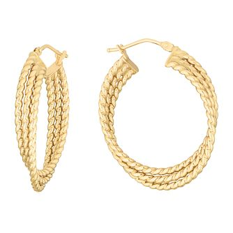 9ct Yellow Gold Three Strand Hoop Earrings - Product number 3137708