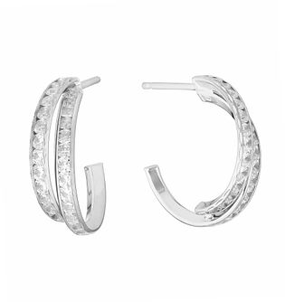 9ct White Gold Cubic Zirconia Two Strand Hoop Earrings - Product number 3137724