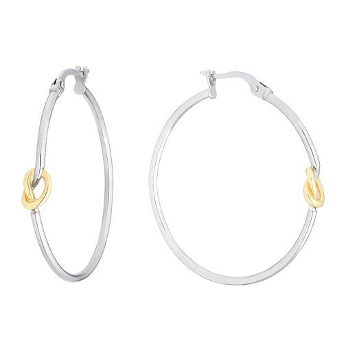 9ct Two Tone Gold Knot Hoop Earrings - Product number 3138097