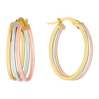 9ct Three Colour Gold Three Strand Hoop Earrings - Product number 3138119