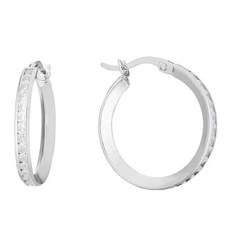9ct White Gold Cubic Zirconia Hoop Earrings - Product number 3138461
