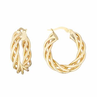 9ct Yellow Gold Three Strand Woven Hoop Earrings - Product number 3138496