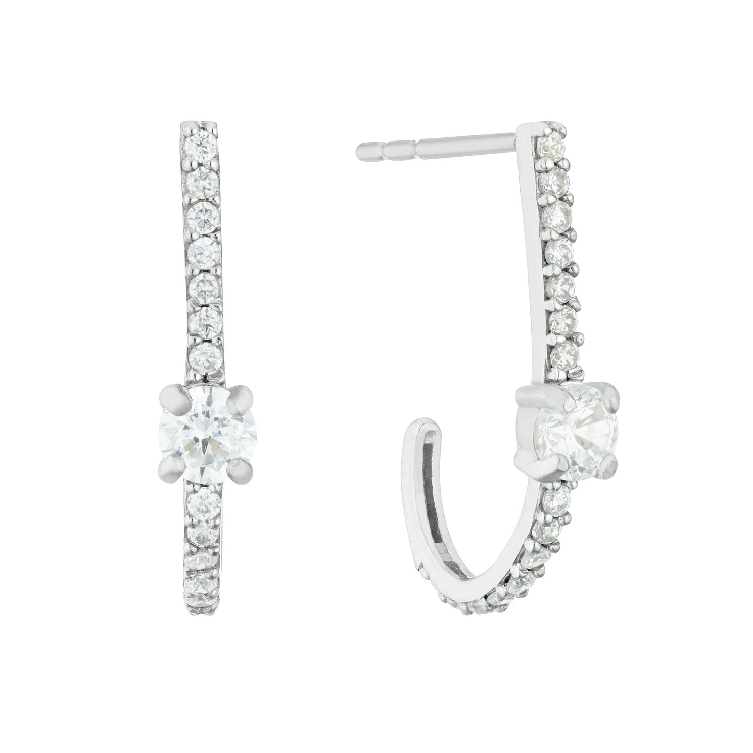 9ct White Gold Cubic Zirconia Station Hoop Earrings - Product number 3139972