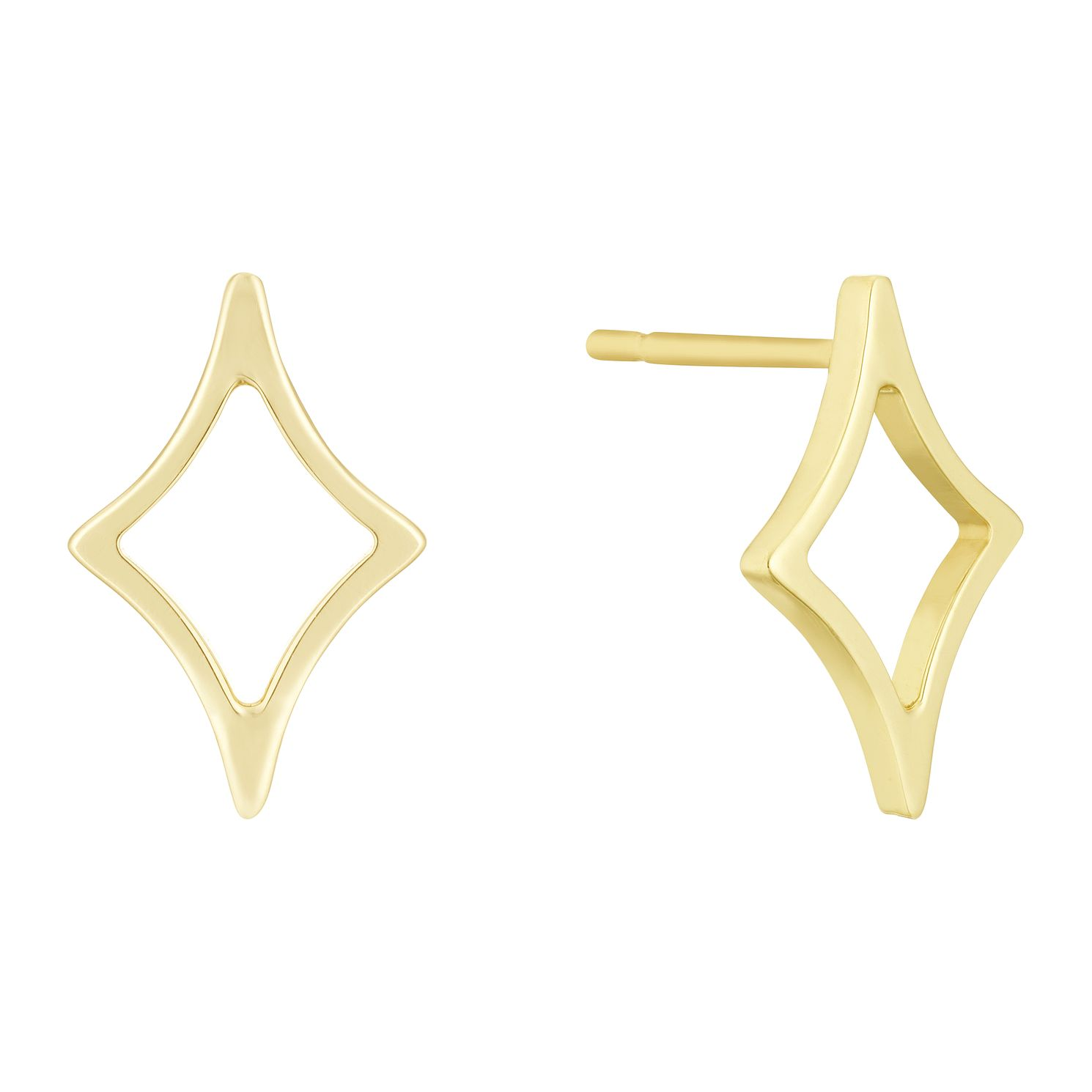 9ct Yellow Gold Diamond Shape Stud Earrings - Product number 3140601