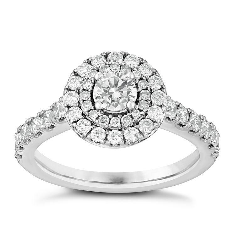 18ct white gold 1ct round cut solitaire diamond ring Ernest Jones