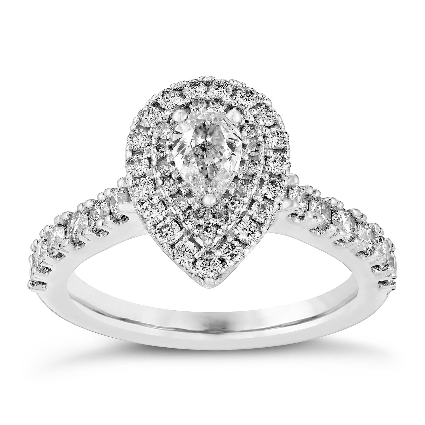 18ct White Gold 1ct Total Diamond Pear Cut Halo Ring - Product number 3140946