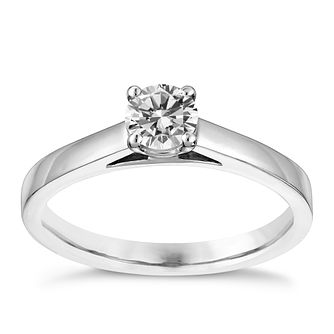 18ct white gold 2/5ct claw set solitaire diamond ring - Product number 3141586
