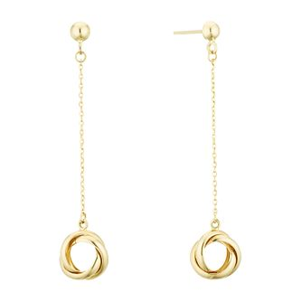 9ct Yellow Gold Love Knot Drop Earrings - Product number 3141705
