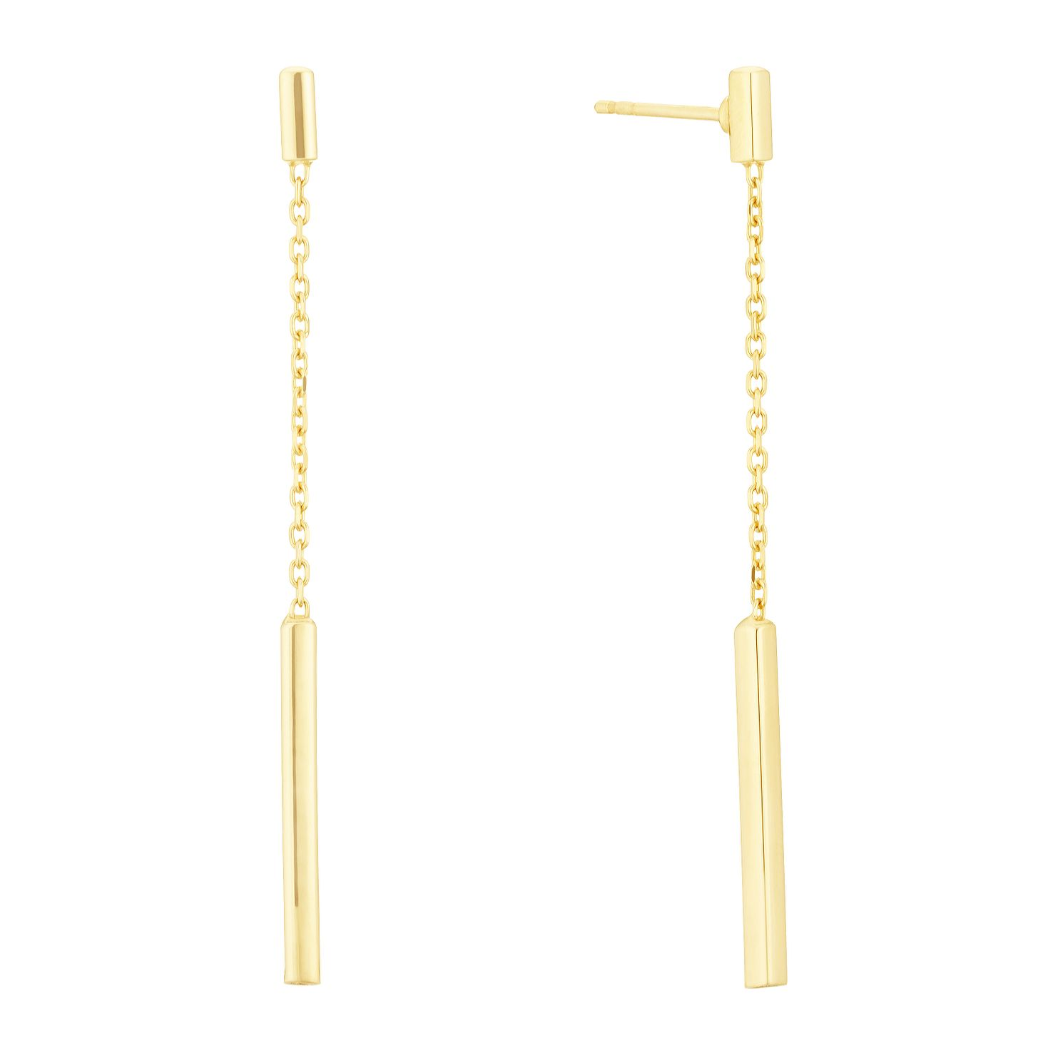 9ct Yellow Gold Chain & Bar Drop Earrings - Product number 3141748